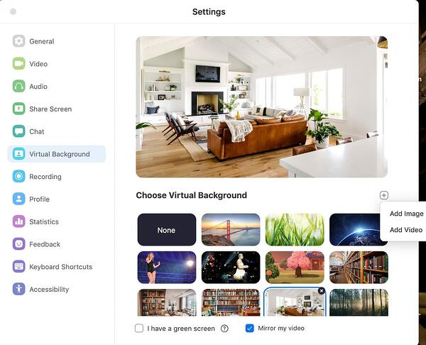 Zoom virtual backgrounds settings.