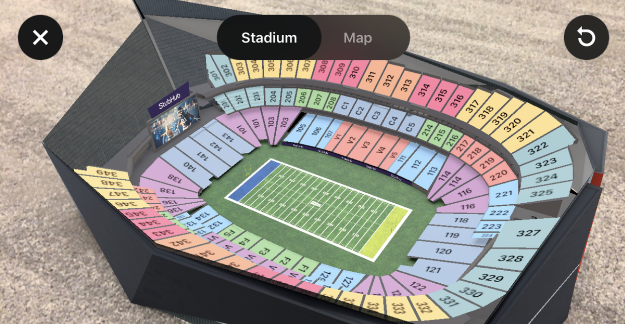 StubHub AR seating seating venue map