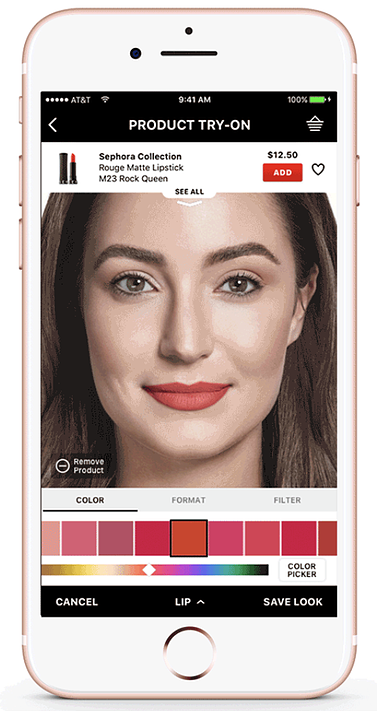 Sephora app augmented Reality feature