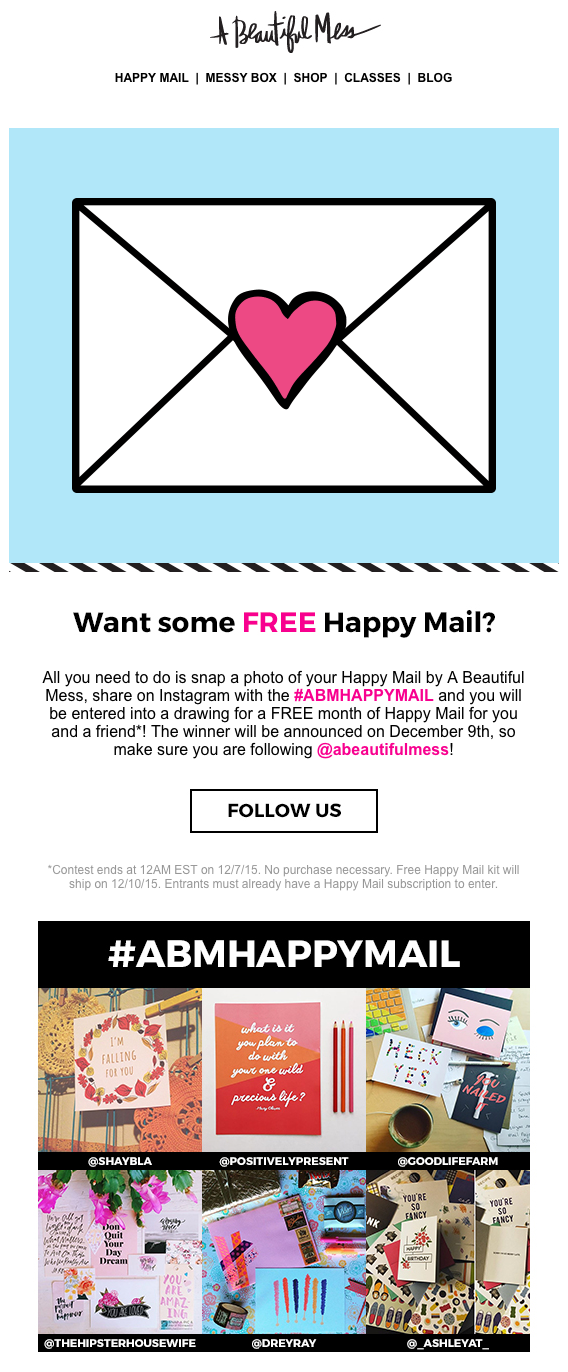 A Beautiful Mess contest promoted via email
