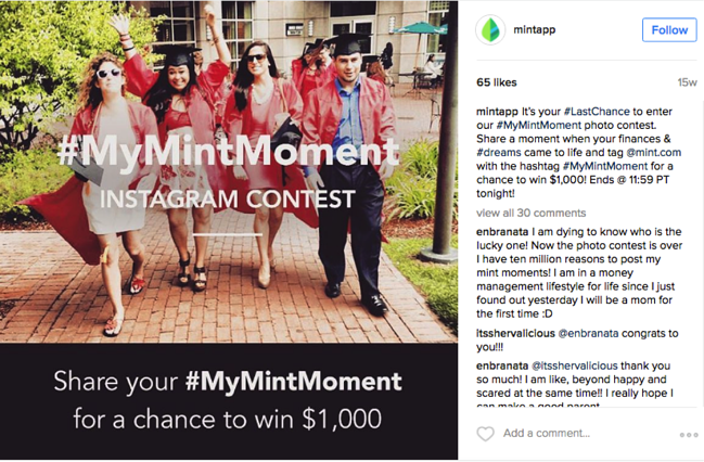 instagram contest for #mymintmoment