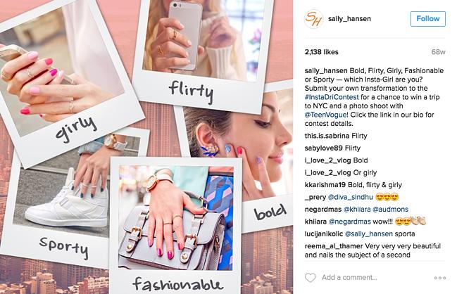 sally hansen instagram contest promoted on their instagram