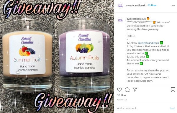 """engagement contest by sweet candles uk: """"win one of our limited addition candles by following our instagram account, tagging 2 friends that love candles, liking this post, and commenting which scent you would like to win"""""""