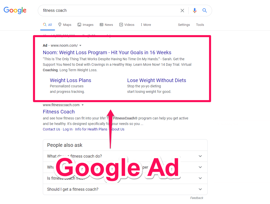 Fitness coach Google Adwords results