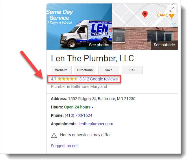 Plumber reviews displayed in local SEO search results