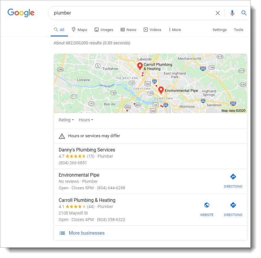 "Local SEO results for the search ""plumber"""