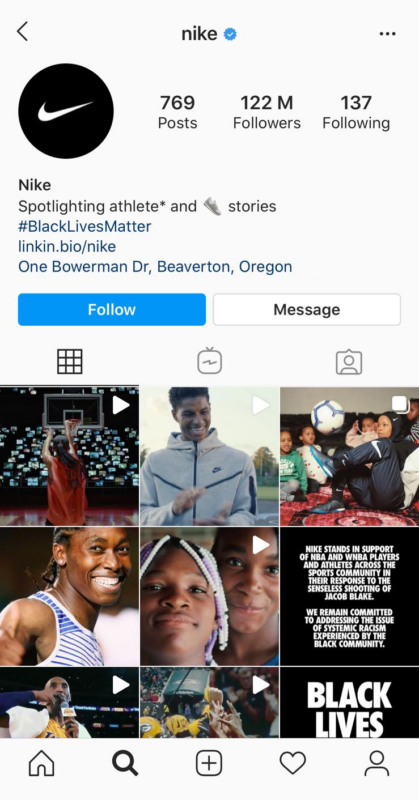 instagram for business example Nike