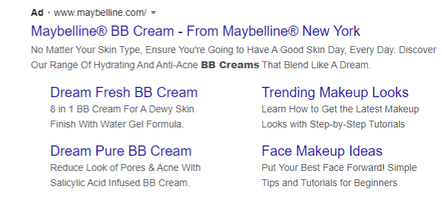 Screenshot of Maybelline PPC ad copy writing skills