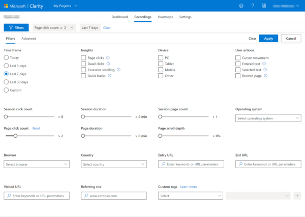 filters in microsoft clarity