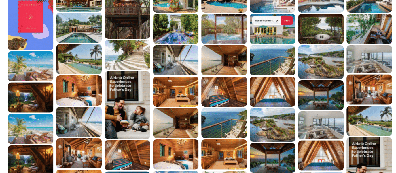 Airbnb shares photography on Pinterest feed