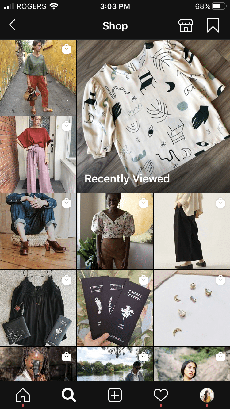 """Instagram Shop page showing """"recently viewed"""" items"""