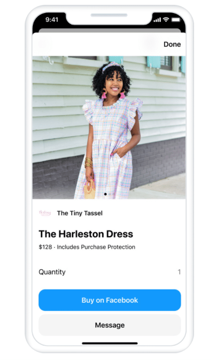Facebook post of a dress with option to buy on Facebook