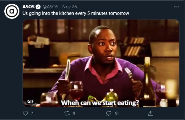 ASOS Twitter Memes for Marketing Thanksgiving