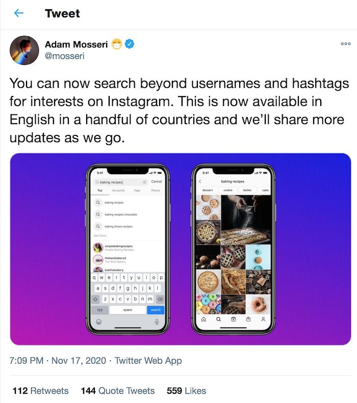 Instagram SEO Adam Mosseris search by interest announcement on Twitter