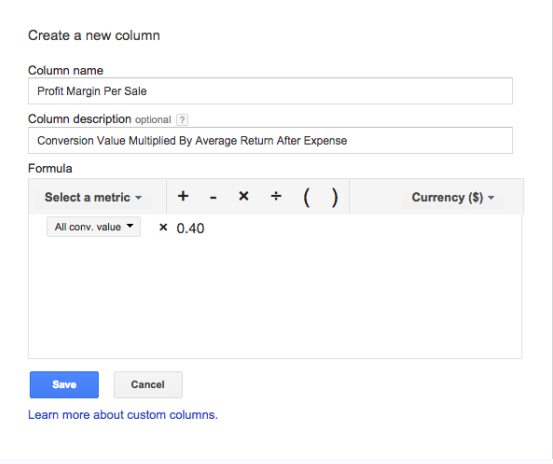 PPC Automation custom build column example
