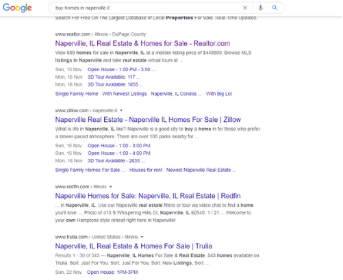 Real Estate Marketing Google search example