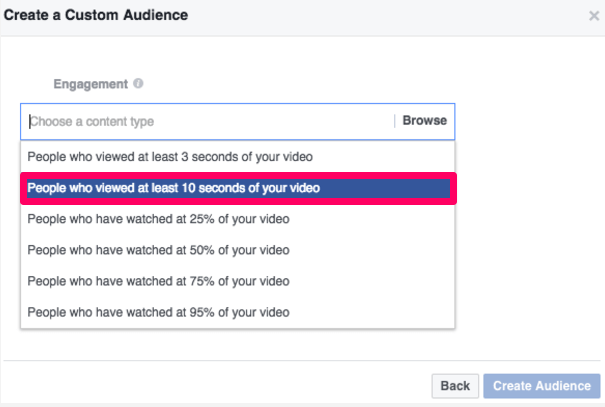 Facebook ads create a custom audience