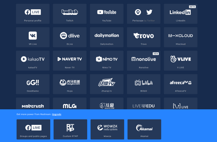 live streaming Restream apps