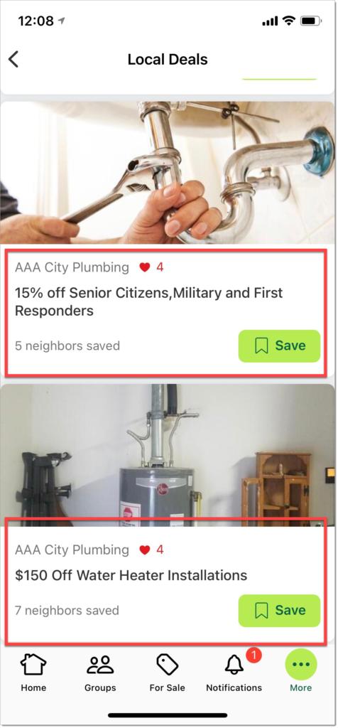 Nextdoor Local Deals for plumbers
