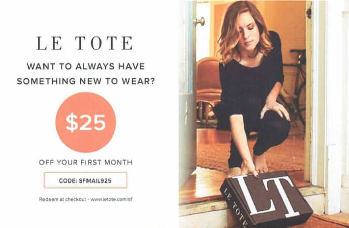 direct mail example from le tote