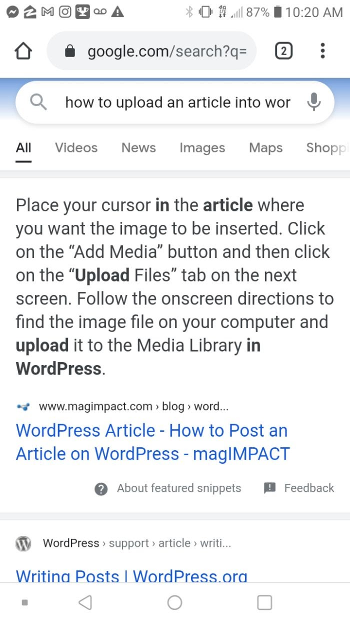 Example of QA in featured snippet