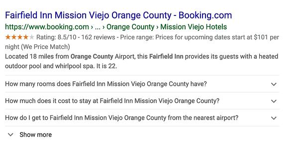 Fairfield Inn schema markup data on Google.