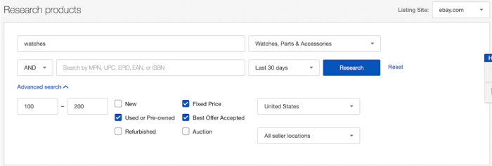 ebay SEO research products