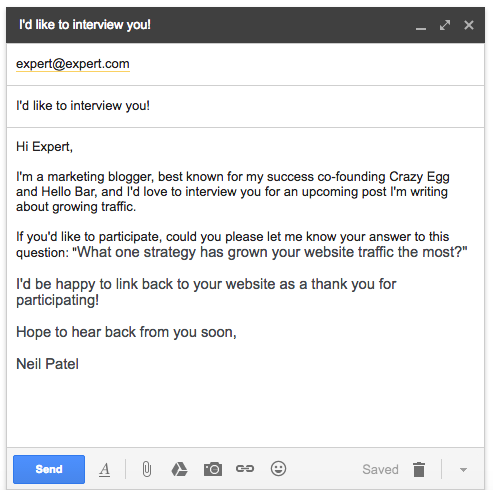 advanced SEO techniques outreach email example
