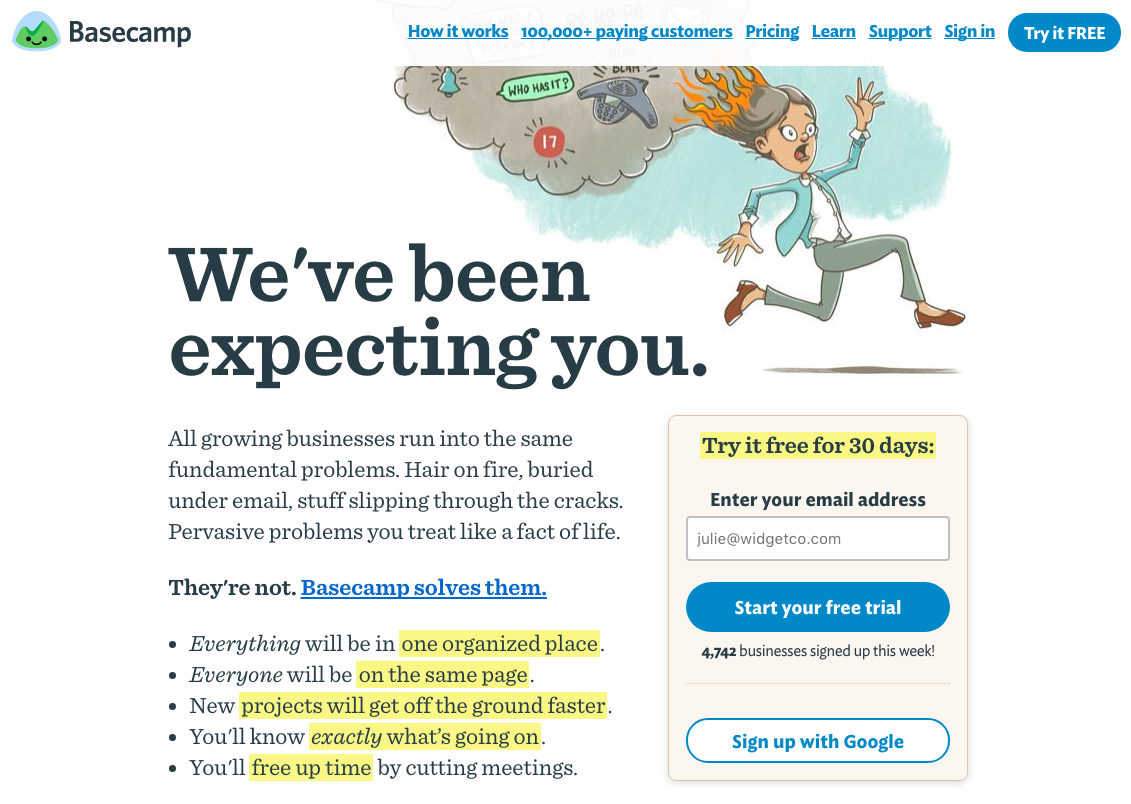 advanced SEO techniques base camp landing page example