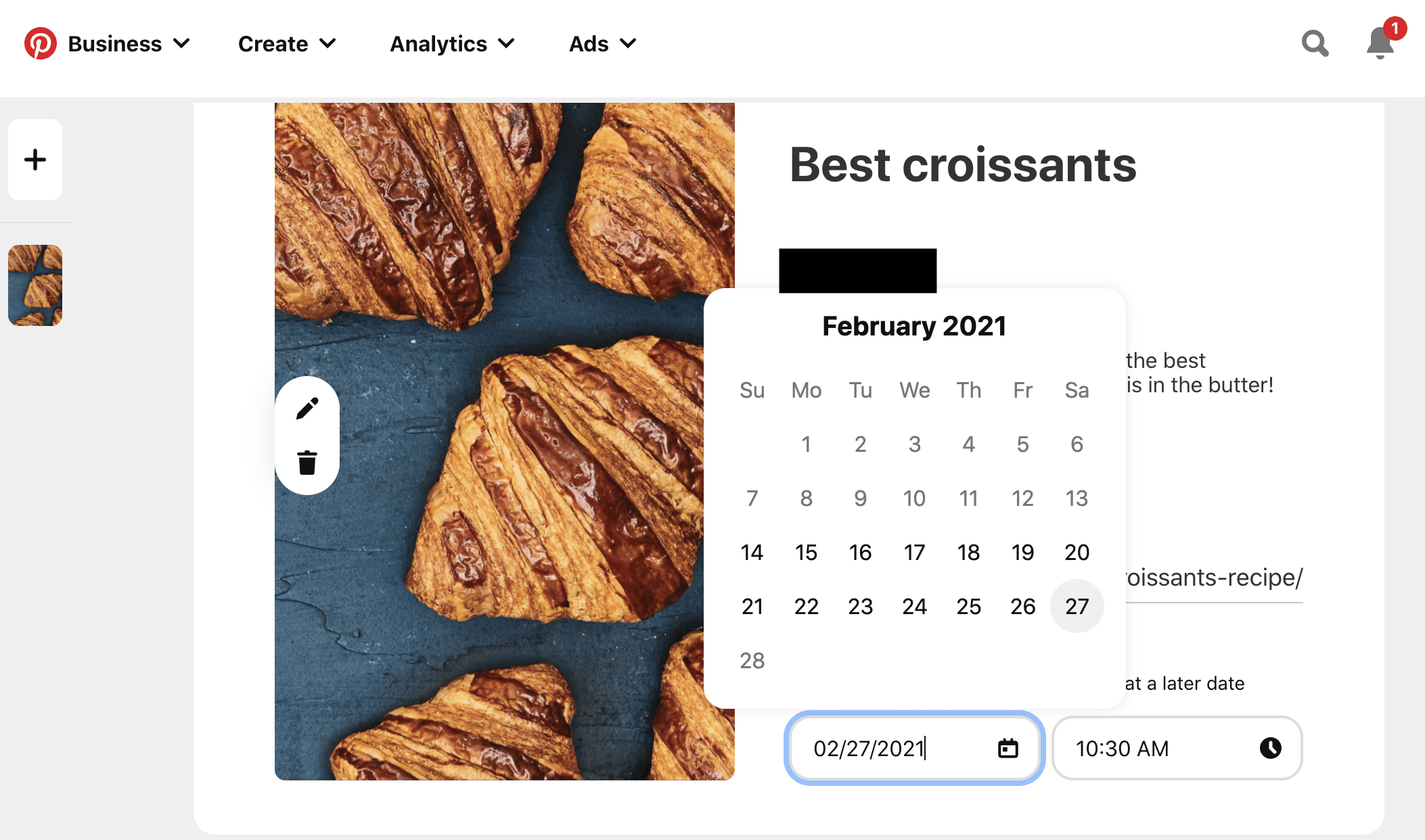 schedule best croissants board for February 2021