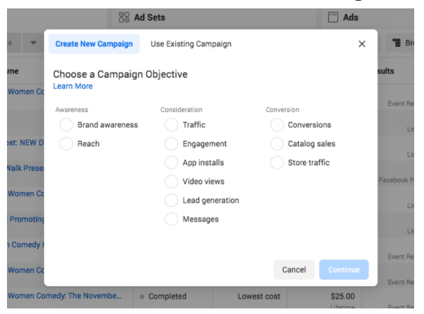 ad creation manager create new campaign