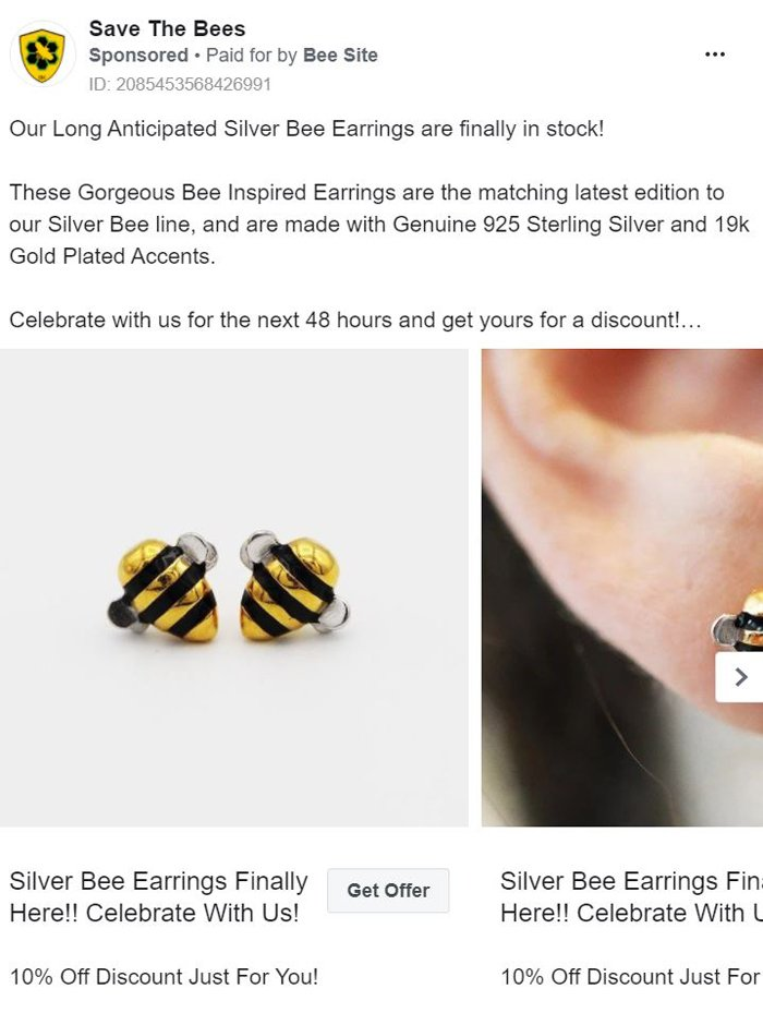 facebook carousel ad - bees