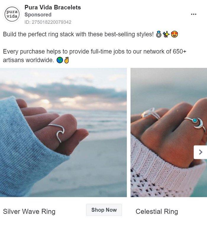 facebook carousel ad - pura vida bracelets