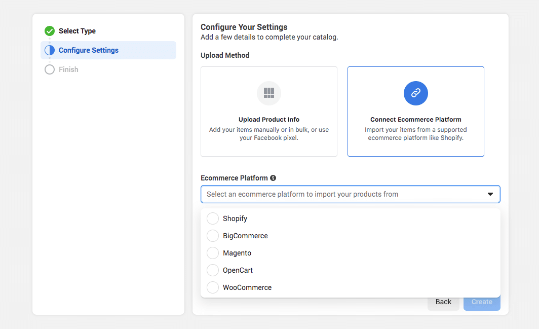configure settings to connect ecommerce platform