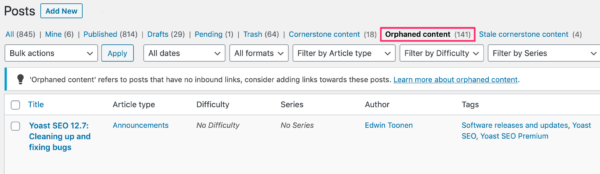 orphaned content filter on yoast.com