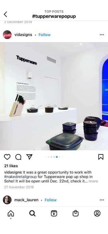 Pop-up shop by Tupperware