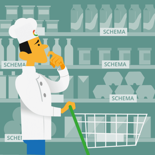 Cook looking at supermarket shelves full of Schema