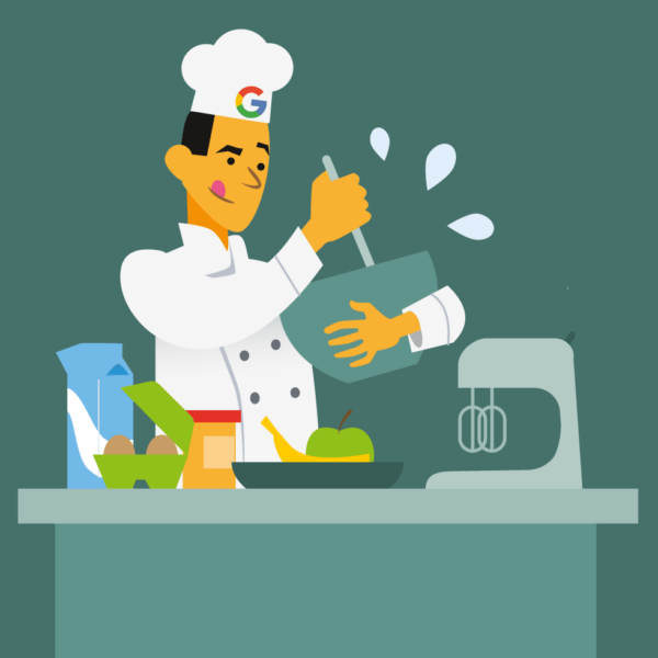 Illustration of cook cooking with the ingredients he got