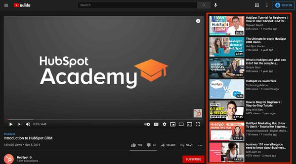 youtube suggested views sidebar tab on hubspot academy channel