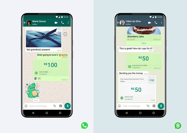 WhatsApp payments in whatsapp message threads