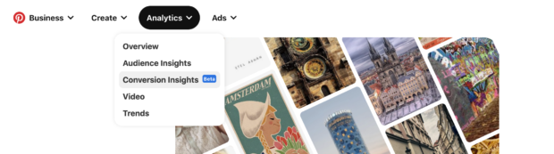 Pinterest analytics menu