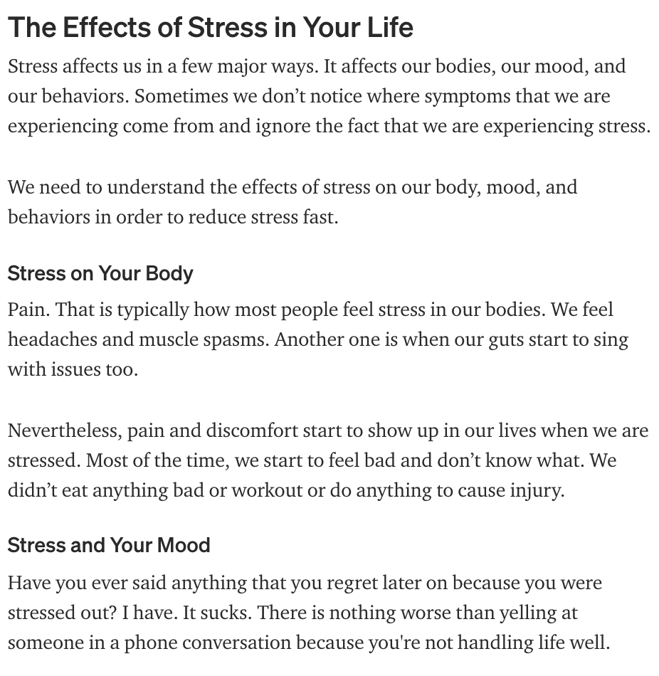 effects of stress in your life how to guide