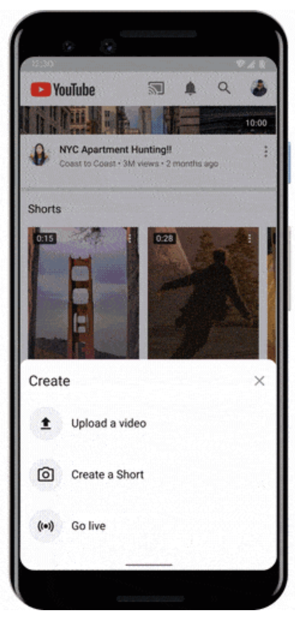 Where YouTube Shorts will appear in YouTube app