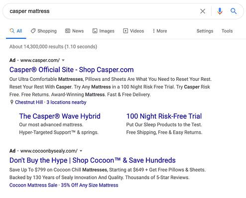 """paid ads top result in google search engine results page for """"casper mattress"""" query"""