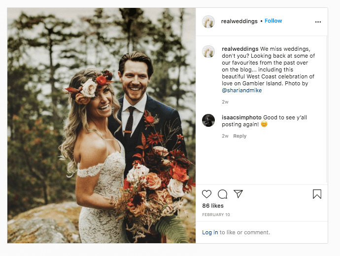 Real Weddings photo of married couple with bouquet