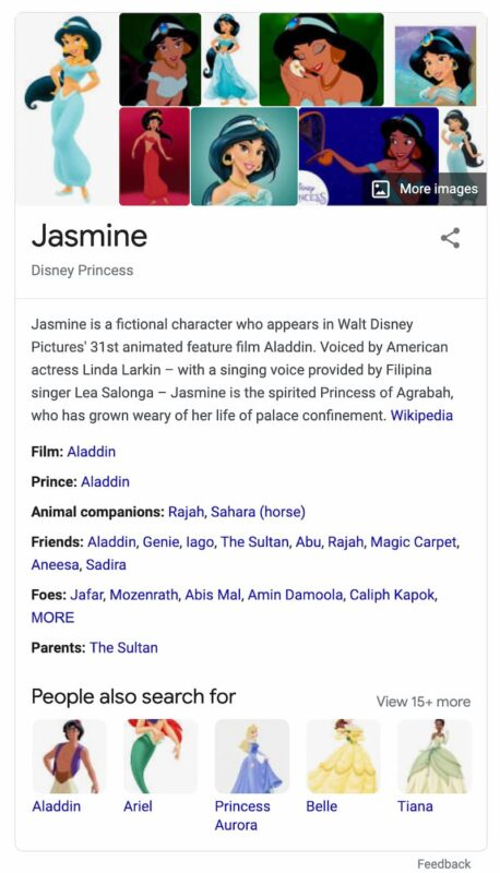 example of a knowledge panel: princess jasmine
