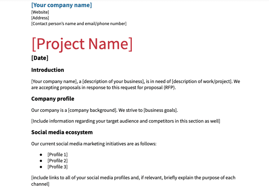 social media RFP template with company and project name