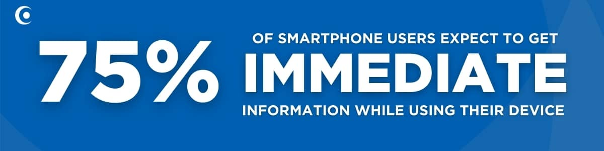 75% of smartphone users want immediate information when using their smartphone