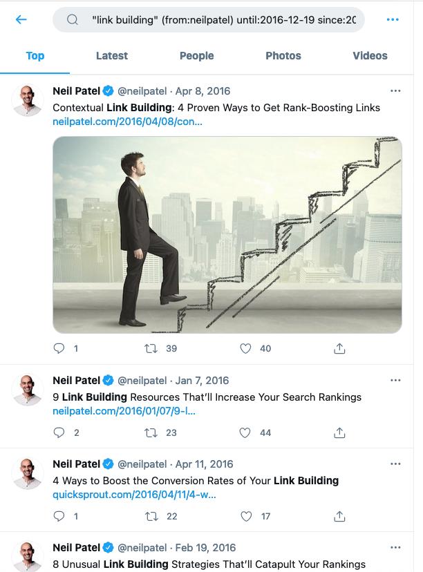 Old Tweets - Neil Patel Example