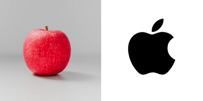apple fruit vs Apple company logo entity based SEO